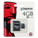 Κάρτα μνήμης Micro SD Class 4 Kingston 4Gb + 1ADP