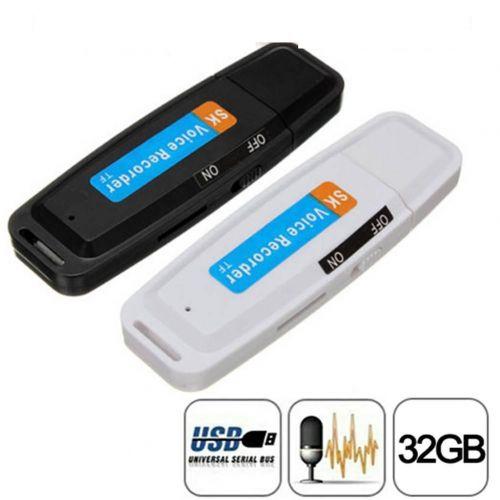 OEM Spy USB Stick Κοριός Καταγραφικό Συνομιλιών 32GB - U-Disk Digital Audio Voice Recorder USB Ultra Clear Recording Flash Drive Micro SD 32GB HQ (Recording time 1000 hours)