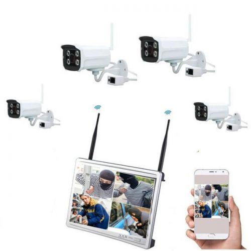Δικτυακό NVR Wifi ασύρματο σύστημα παρακολούθησης καταγραφικό με MONITOR LED LCD 11'' DVR 4 CH με 4 ασύρματες κάμερες νυχτερινής λήψης