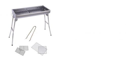 BBQ Οικογενειακή Ψησταριά κάρβουνου 73cm X 33cm X67cm από ανοξείδωτο χάλυβα Σετ με 2 Σχάρες Ψησίματος και Λαβίδα και Συρόμενες πλαινές Βάσεις στήριξης για δίσκους εργαλεία ψησίματος κτλ