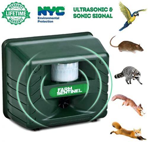 Ηλεκτρονικός Ισχυρός Υπερηχητικός Απωθητής Ανεπιθύμητων Ζώων Τρωκτικών και Πουλιών με Αισθητήρα κίνησης (λειτουργεί μέρα νύκτα και χωρίς παρουσία Ήλιου) - Εκφοβιστής Πουλιών και Αδέσποτων Ζώων - Bird-X - Model Farm Gard - Ultrasonic Pest Animal Repel
