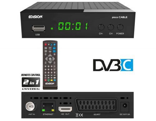 EDISION PICCO Cable σύγχρονος Ψηφιακός καλωδιακός αποκωδικοποιητής H.264, MPEG4, Full High Definition DVB-C, με εξελιγμένη περιήγηση μενού και αναβαθμισμένη συνολική εμπειρία χρήστη ME οθόνη LED-display 4 ψηφίων, πλήκτρα ON/OFF
