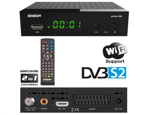 ΡRΟΤΟΝ S2 νέος μικρός Δορυφορικός δέκτης της EDISION με δυνατότητα θέασης DVB-S & DVB-S2 δορυφορικών καναλιών. Με αναβαθμισμένο OSD MENU και νέας γενιάς επεξεργαστή, σας προσφέρει ταχύτατη εναλλαγή στο μενού και στα κανάλια
