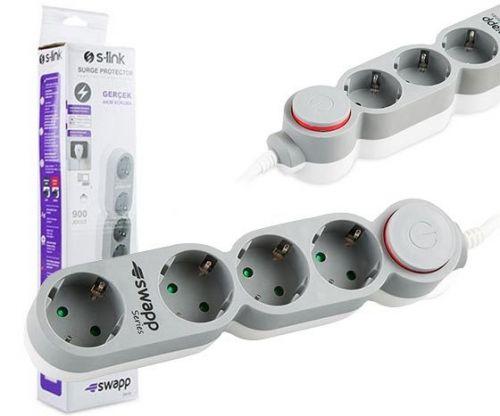 Πολύπριζο Προστασίας Υπέρτασης 220V S-link Swapp series SPG9J04 με ένδειξη λειτουργίας LED