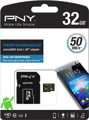 PNY SDU32GPER50-EF 32GB Κάρτα μνήμης microSDHC, UHS-I U1 32GB για Android, με αντάπτορα SD