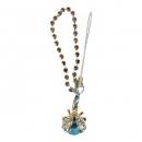 Charm Strap Χρυσαφί Σκαθάρι με Γαλάζια Στρας
